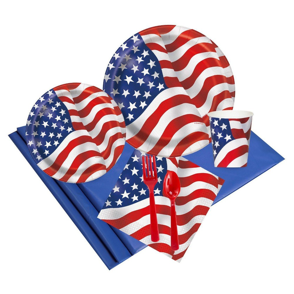 Patriotic USA Flag 24 Guest Red Party Pack, Multicolored