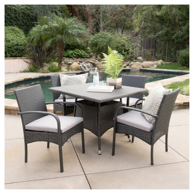 Patterson 5pc Wicker Patio Dining Set - Gray - Christopher Knight Home