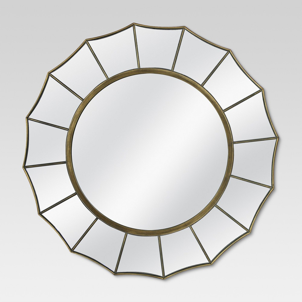 "Image of ""24"""" Round Decorative Wall Mirror Antique Gold - MCS"""