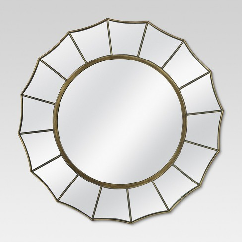 "24"" Round Decorative Wall Mirror Antique Gold - MCS - image 1 of 4"