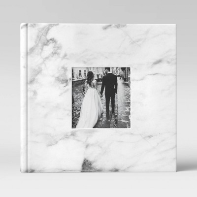 "4"" x 6"" Marble Photo Album with Frame Front White 2 Per Page - Threshold™"