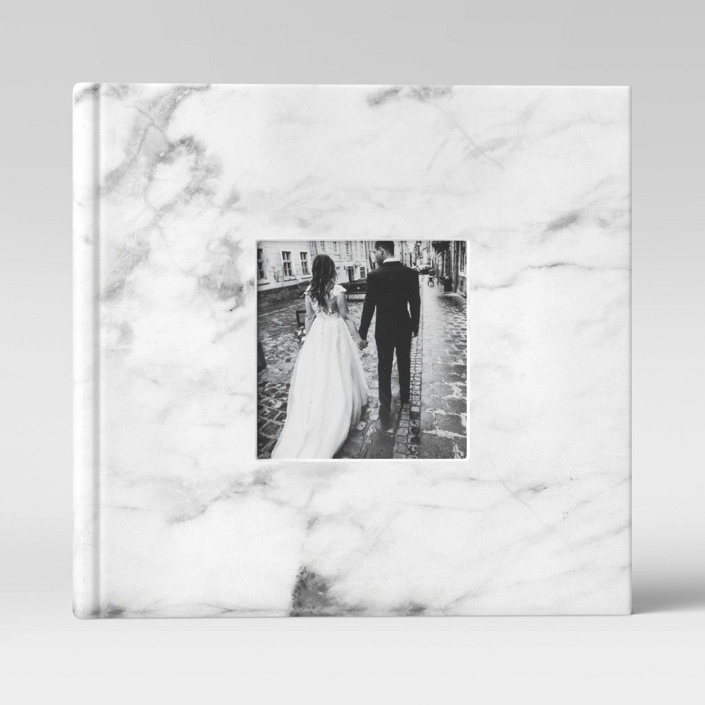 """Image of """"4"""""""" x 6"""""""" Marble Photo Album with Frame Front White 2 Per Page - Threshold"""""""