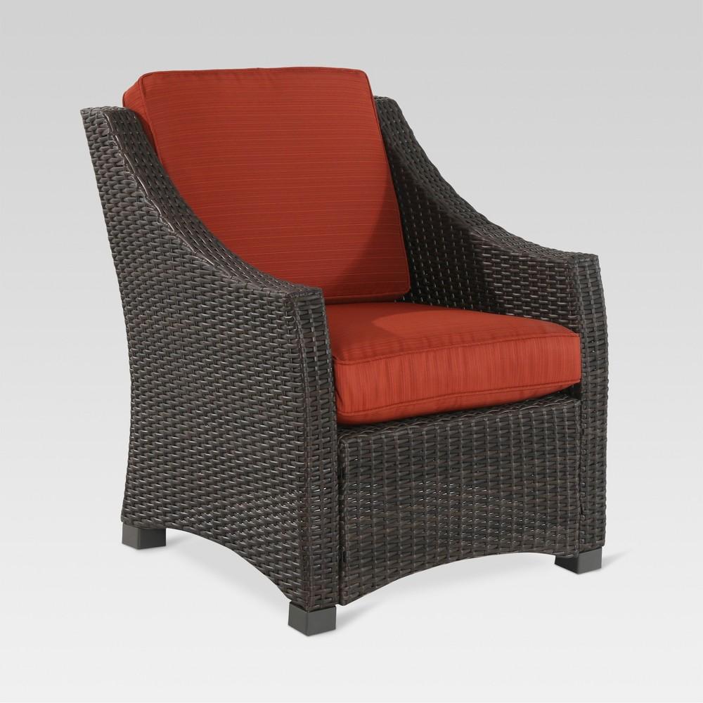 Belvedere Wicker Patio Club Chair Orange - Threshold, Blood Orange
