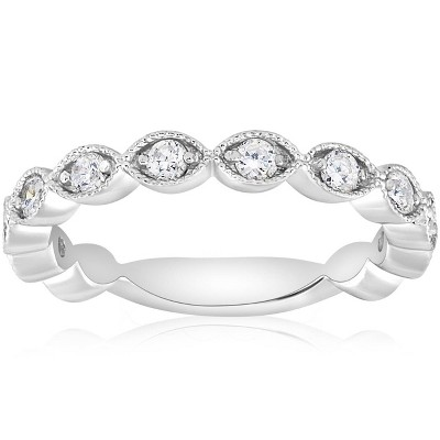 Pompeii3 3/8ct Vintage Diamond Stackable Wedding Ring Womens Stackable Band 14k Gold