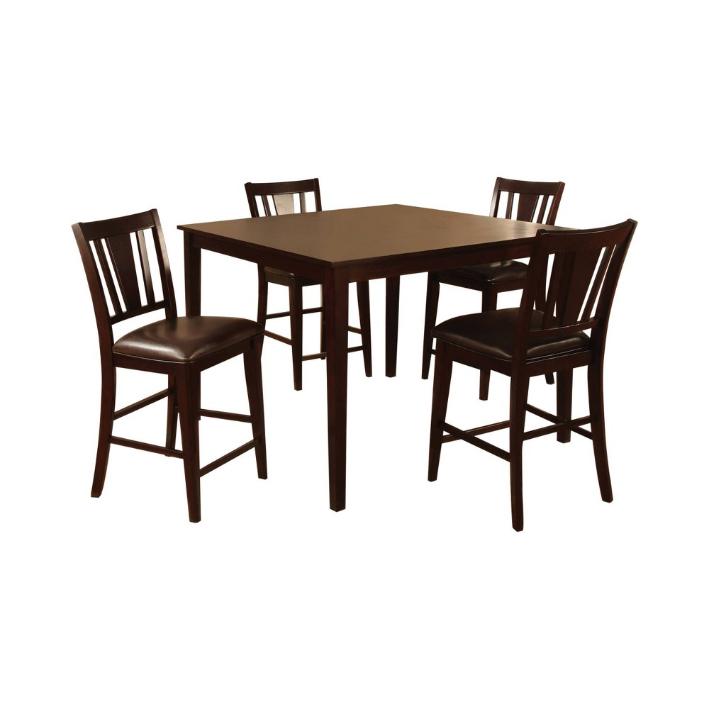 Image of 5pc Pattinson Simple Counter Dining Table Set Espresso - ioHOMES