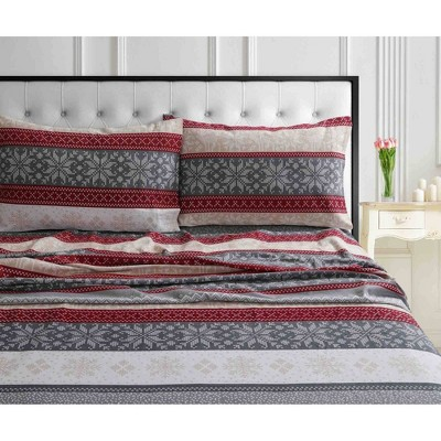 Printed Pattern Extra Deep Pocket Cotton Flannel Sheet Set - Tribeca Living