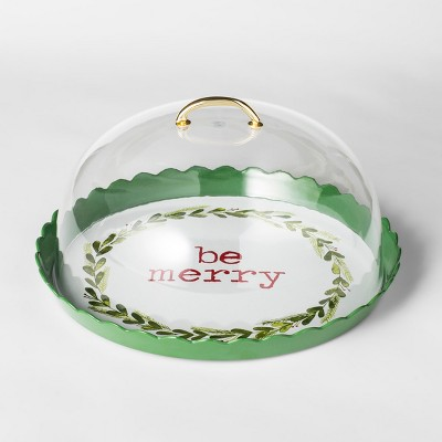 12.3  Plastic Be Merry Cake Plate With Cover Green/White - Threshold™