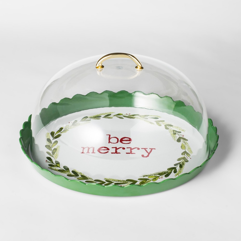 Image of 12.3 Plastic Be Merry Cake Plate With Cover Green/White - Threshold