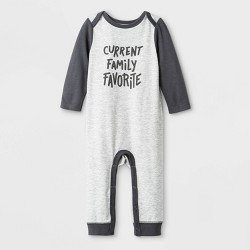 Baby Boys' Graphic Lap Shoulder Romper - Cat & Jack™ Gray