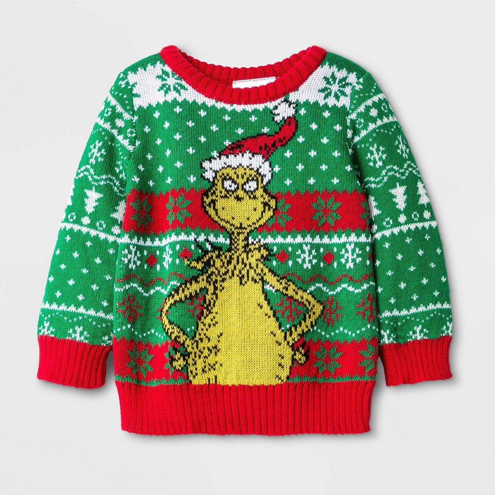 Image of Baby Boys' Dr. Seuss The Grinch Ugly Holiday Sweater - Green 0-3M, Boy's