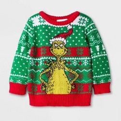 Baby Boys' Dr. Seuss The Grinch Ugly Holiday Sweater - Green