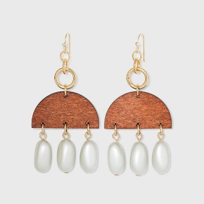 Semi-Circle Wood and Glass Pearl Drop Earrings - A New Day™ Gold