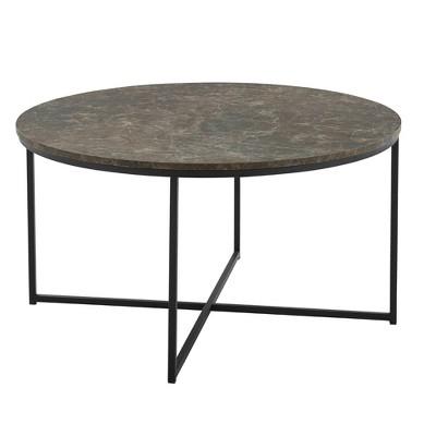 Vivian Glam X Leg Round Coffee Table Faux Marble - Saracina Home