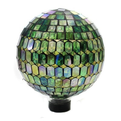"Home & Garden 11.5"" Rainbow Prismatic Mosaic Globe Gazing Ball Yard Decor Echo Valley  -  Outdoor Sculptures And Statues"