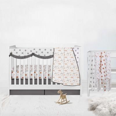 Bacati - Boys Basketball Muslin Orange Gray 8 pc Crib Bedding Set with Long Rail Guard Cover