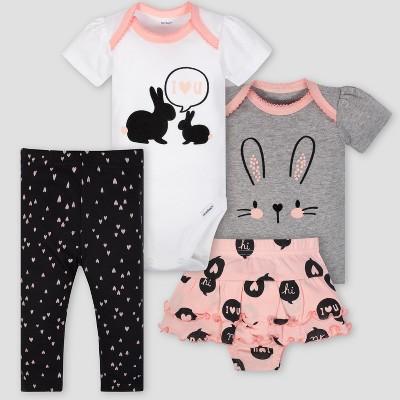 Gerber Baby Boys' 4pc Bunny & Hearts Skirt Bodysuit Shirt & Pant Set - Gray/Pink 12M