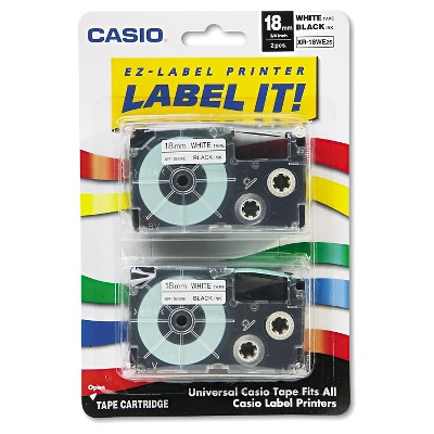 Casio Tape Cassettes for KL Label Makers - Black/White(2 Per Pack)