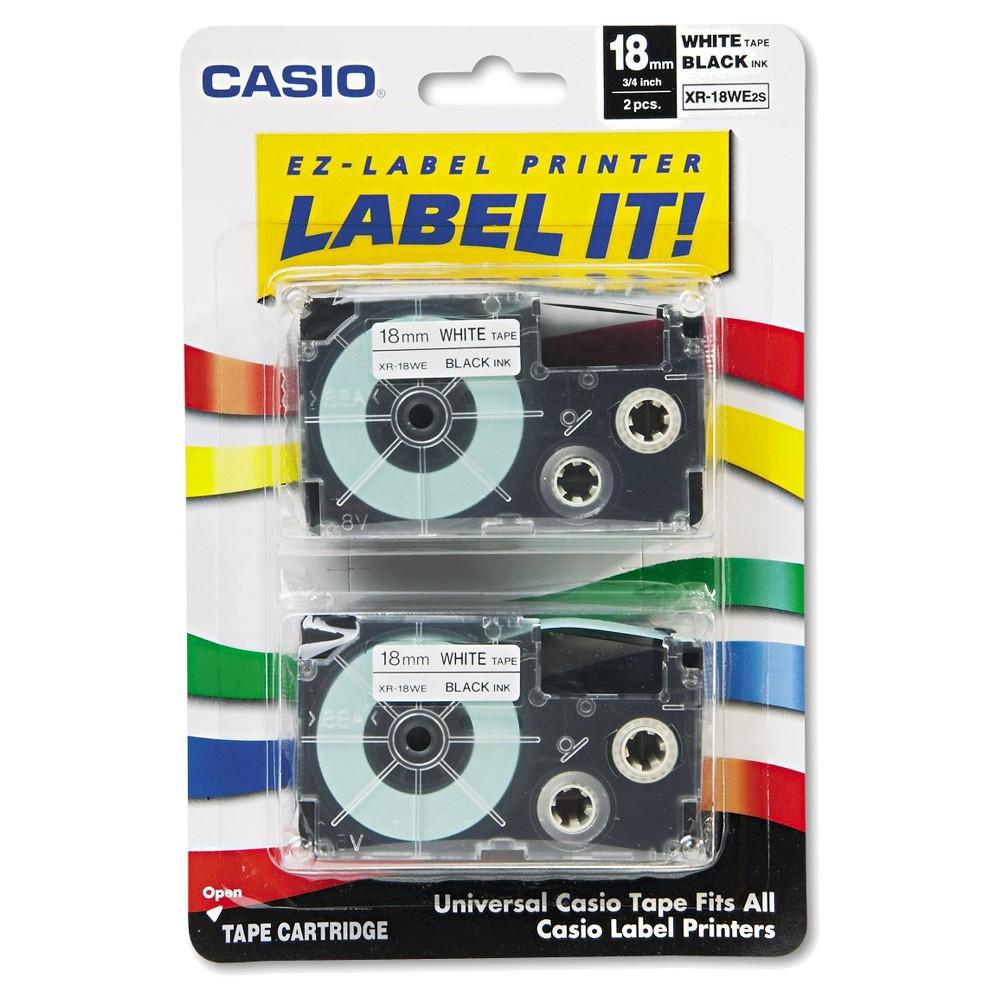 Casio Tape Cassettes for KL Label Makers - Black/White(2 Per Pack)