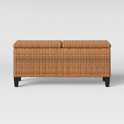 Fullerton Steel Wicker Patio Folding Storage Coffee Table Brown - Project 62™