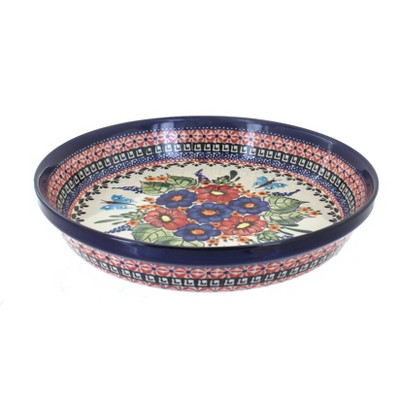 Blue Rose Polish Pottery Floral Butterfly Pie Plate
