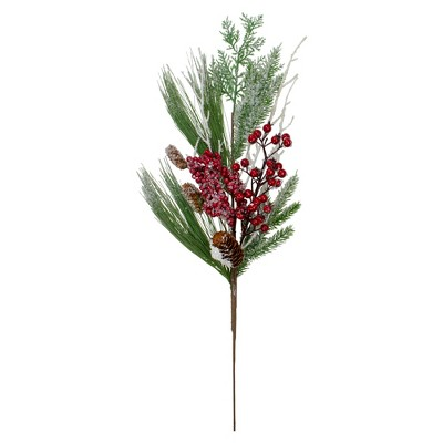 """Northlight 26"""" Green Berries with Pine Cones Artificial Christmas Spray - Unlit"""