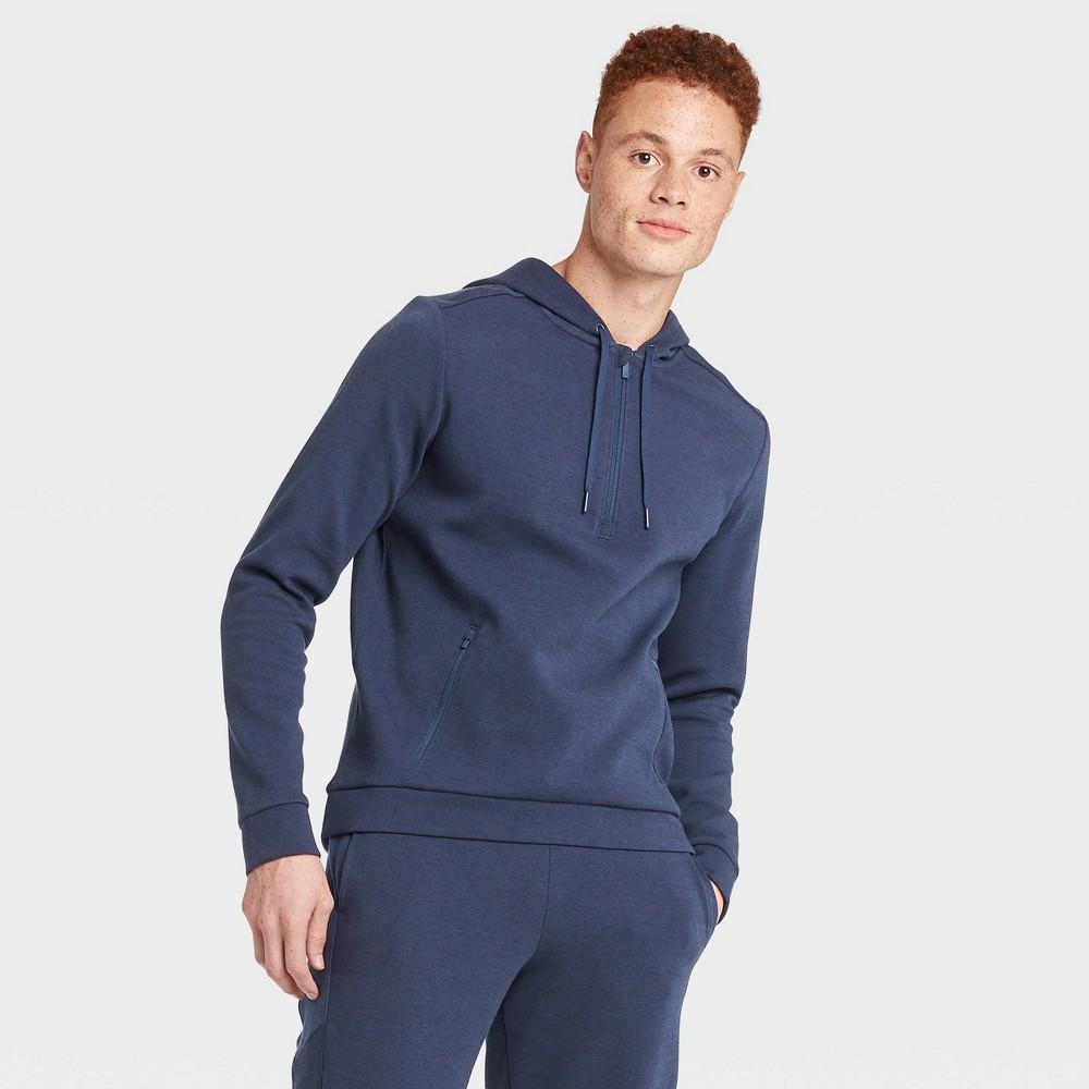 Men's Premium Fleece 1/4 Zip Hoodie - All in Motion Navy M, Men's, Size: Medium, Blue was $38.0 now $24.7 (35.0% off)