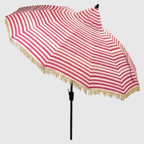 9 Carousel Patio Umbrella Pink Stripe White Fringe Light Wood Pole Opalhouse Target