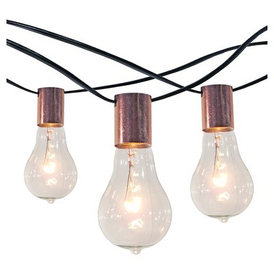 10CT String Lights with Copper Socket Collar with Black Wire - Smith and Hawken™