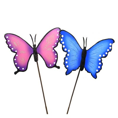 """Home & Garden 23.0"""" Spring Butterflies Set/2 Spring Summer Pop Color Round Top Collection  -  Decorative Garden Stakes"""