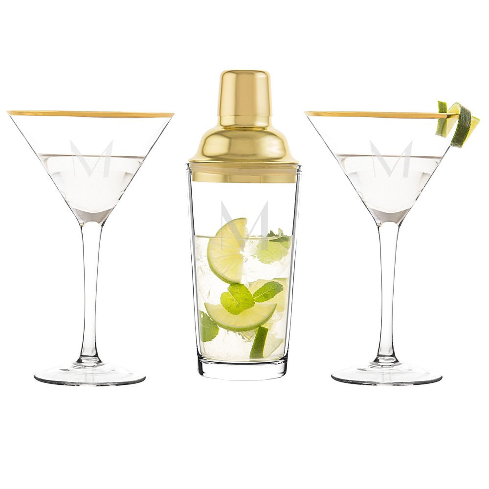 Cathy's Concepts Monogram 3pc Cocktail Shaker Set Gold M, Clear Gold