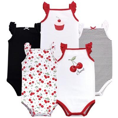 Hudson Baby Infant Girl Cotton Sleeveless Bodysuits 5pk, Cherries
