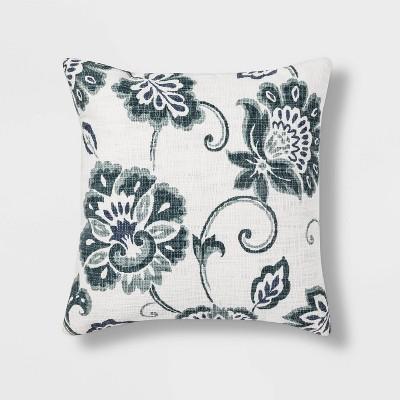 Jacobean Printed Square Throw Pillow Blue - Threshold™