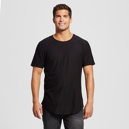 Men s Long Curved Hem T-Shirt Black S - Jackson ™   Target 5abefdc807e
