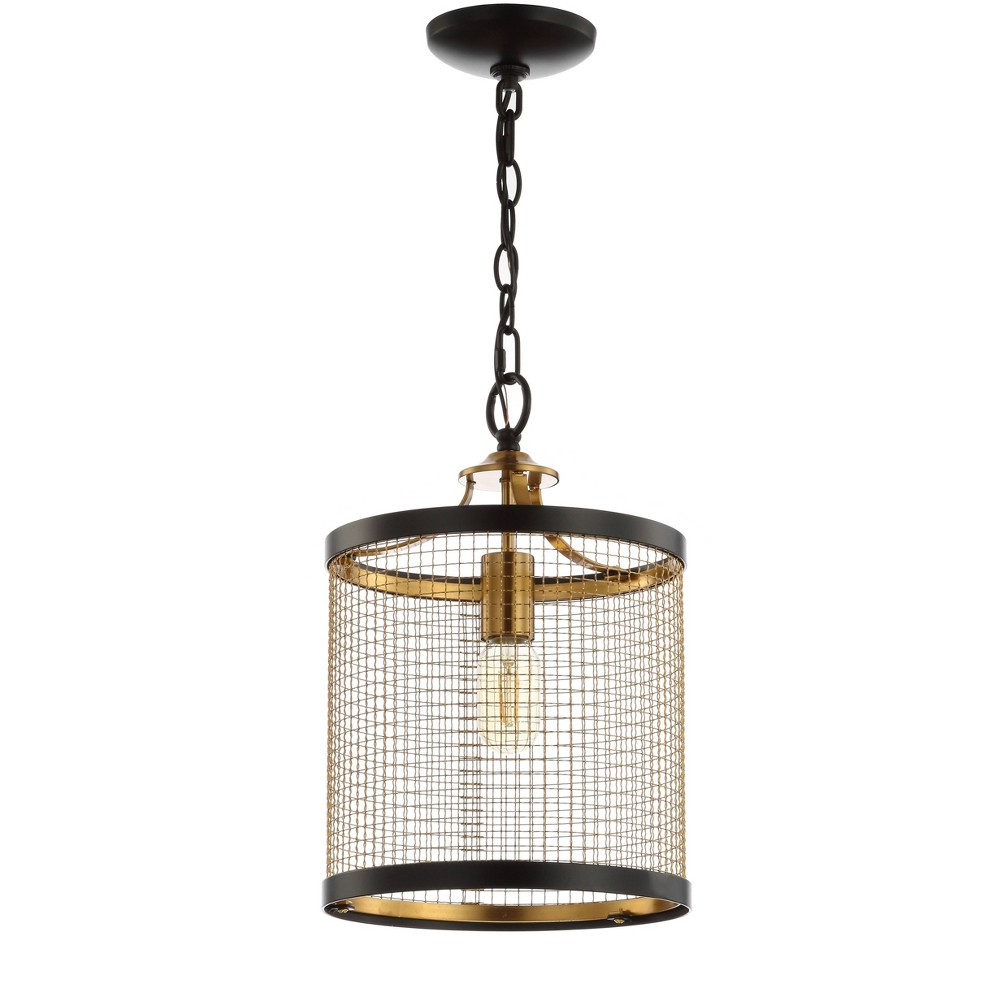 "Image of ""10"""" Elena Lantern Metal LED Pendant Black (Includes Energy Efficient Light Bulb) - JONATHAN Y"""