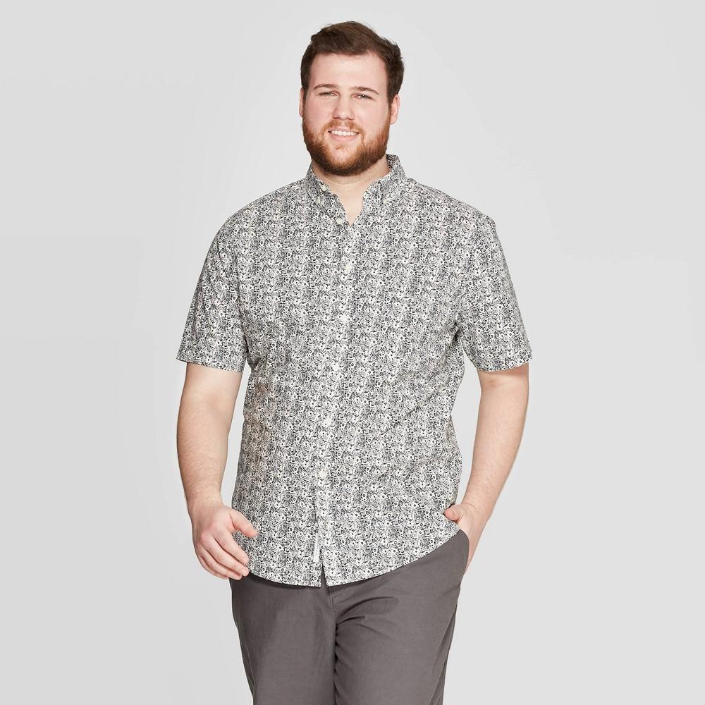 dff90665 Mens Big Tall Floral Print Standard Fit Short Sleeve Poplin Button Down  Shirt Goodfellow Co Navy 4XB Blue