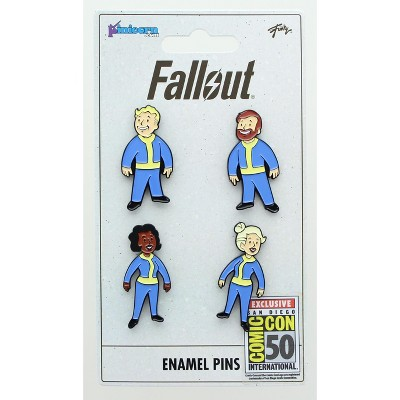 Just Funky Fallout Vault Dweller Pins | Collectible Metal Enamel Pin Set | Includes 4 Pins