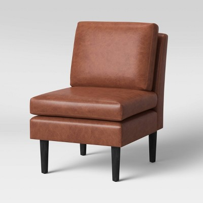 Gelbin Faux Leather Slipper Chair with Wood Legs Caramel - Project 62™