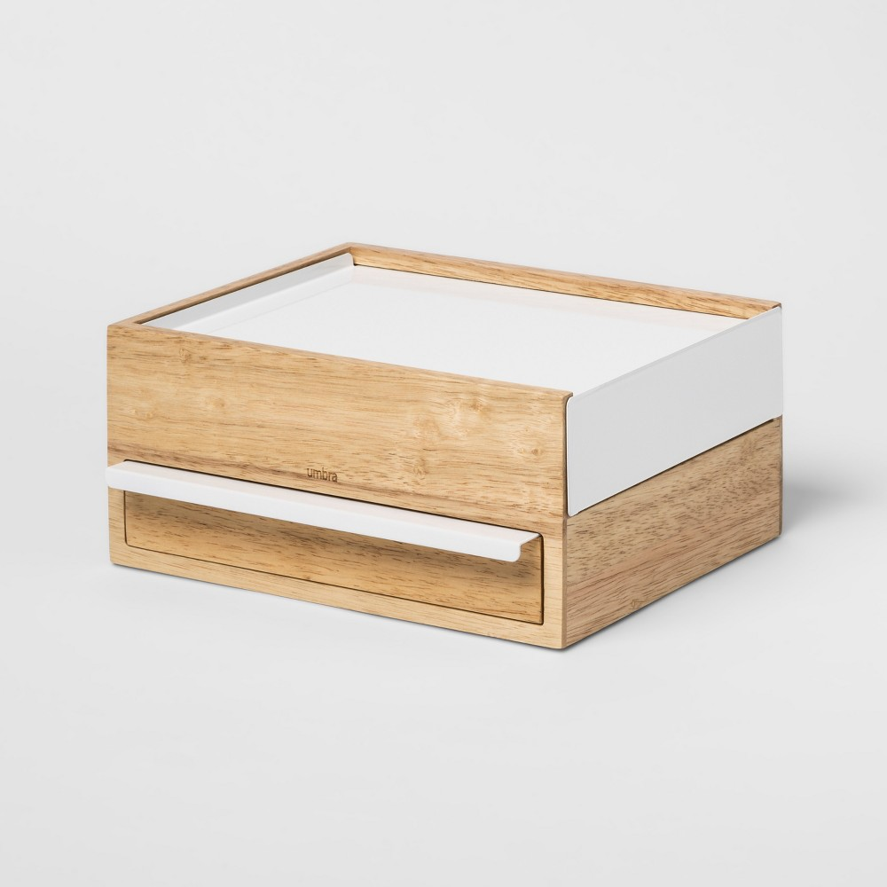 Prisma Jewelry Storage Stand Natural White - Umbra Keep your jewelry safe and organized with the elegant Stowit Storage Box from Umbra. In a lovely wood finish, this compact jewelry box is an easy way to store and access your valuables. The fully lined compartments glide smoothly to showcase your jewelry in style, while the built-in handle makes for easy opening and closing. Color: Natural White. Gender: Unisex.
