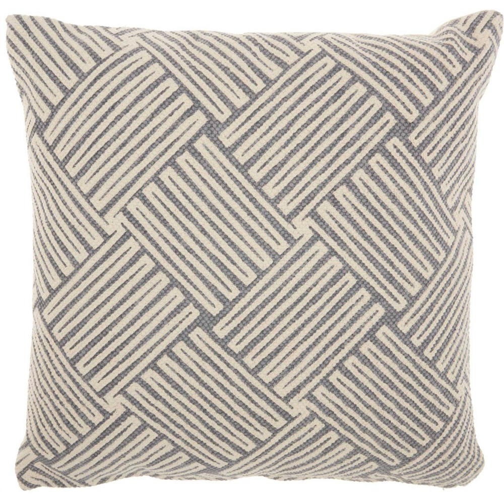 Basketweave Fossil Oversize Square Throw Pillow Beige/Blue - Studio Nyc Design