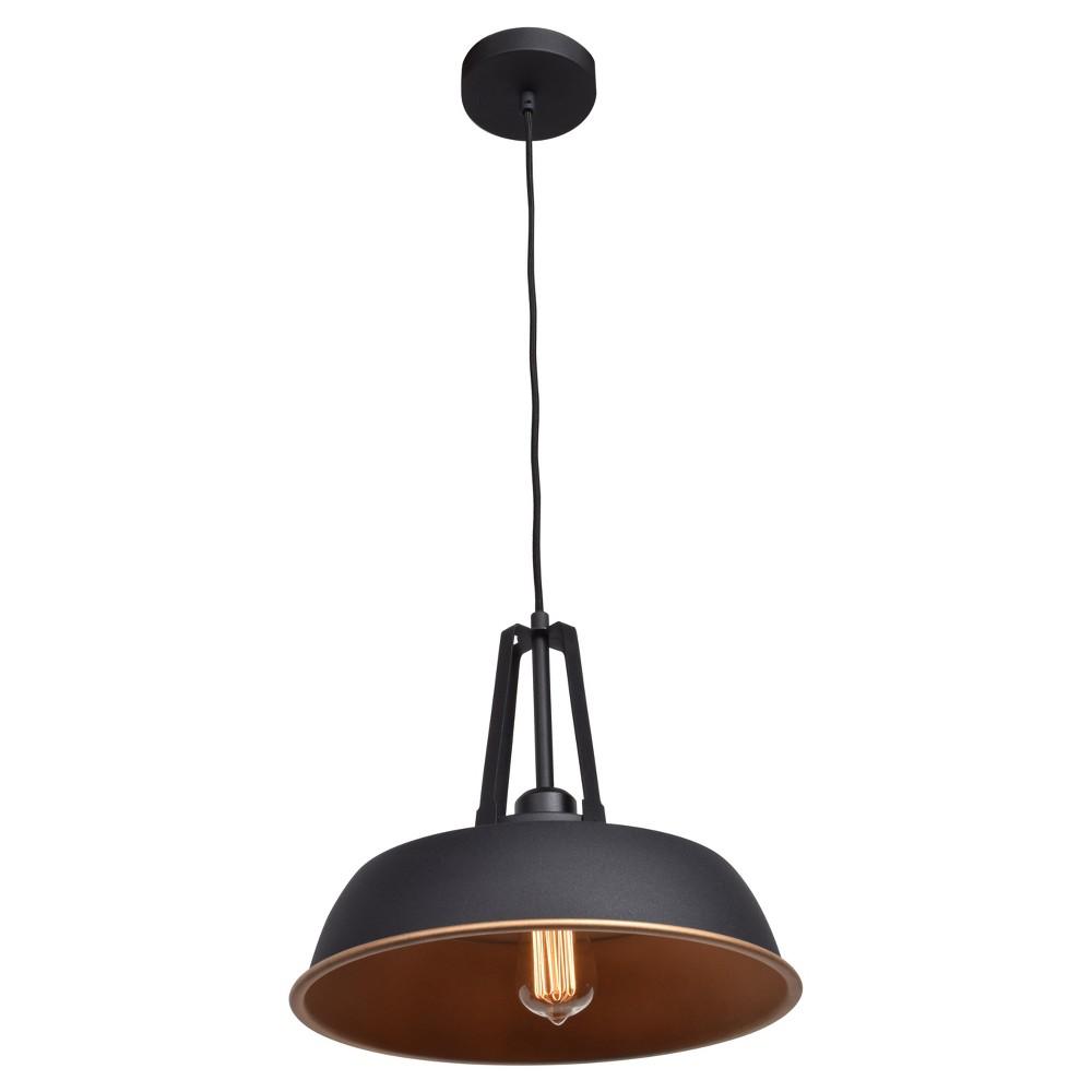 Image of Nostalgia 1-Light Bell Dome Pendant - Matte Black Outer, Matte Gold Inner Shade