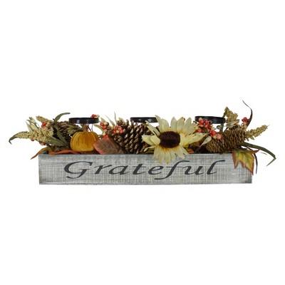 "Northlight 26"" Autumn Harvest Sunflower 3-Piece Candle Holder in a ""Grateful"" Rustic Wooden Box Centerpiece"