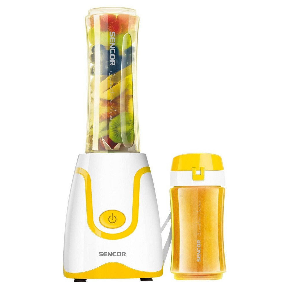 Sencor Smoothie Blender is ideal for preparing fresh fruit and fitness drinks, milkshakes, mixed beverages, soups, salsas, and baby formulas. The blending bottle can be removed and used as a travel bottle. Bottle, lid, and blades are dishwasher safe. Includes Two bottles: 2.5 cups/.6L and 1.3 cups/.3L which fit car cup holders and are made from impact-resistant BPA free Tritan. Color: Yellow.