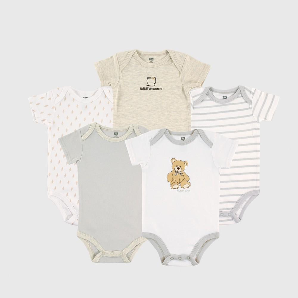 Hudson Baby 5pk Bodysuits, Bears - Beige 3-6M, Infant Boy's