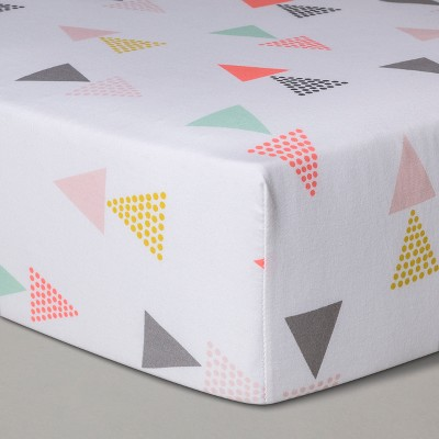 Fitted Crib Sheet Triangles -Cloud Island™ Pink