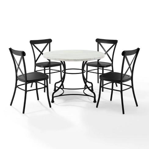 "5pc 40"" Madeleine Dining Set Matte Black - Crosley - image 1 of 4"