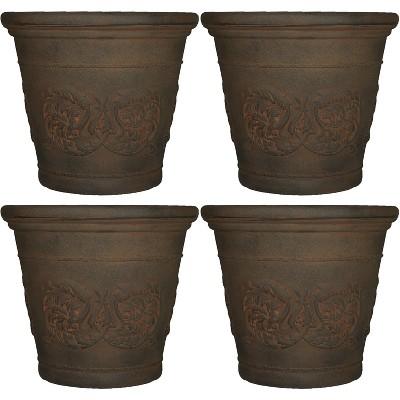"Sunnydaze Indoor/Outdoor Patio, Garden, or Porch Weather-Resistant Double-Walled Arabella Flower Pot Planter - 20"" - Sable Finish - 4pk"