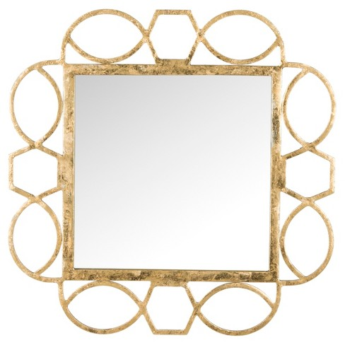 Square Alexandria Fretwork Decorative Wall Mirror Gold - Safavieh® - image 1 of 3