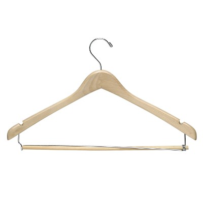 Honey-Can-Do Suit Hanger with Locking Bar - Maple (6pk)