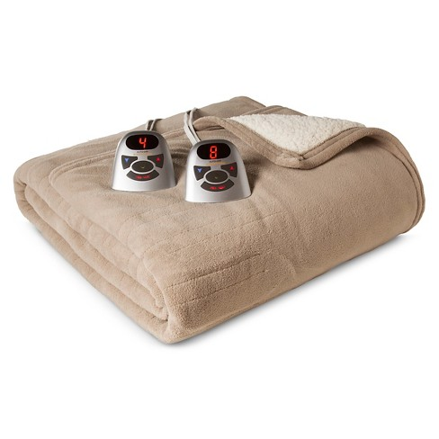 Biddeford Microplush with Sherpa Electric Blanket - Taupe (Queen) - image 1 of 1
