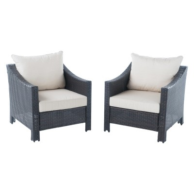 Antibes Set of 2 Wicker Club Chair with Cushions - Beige - Christopher Knight Home